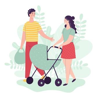 젊은 남자와 여자는 유모차에 아기와 함께 걷고있다