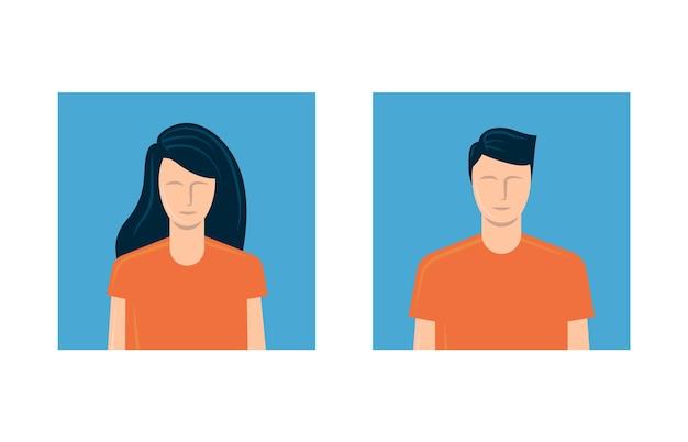 젊은 남자와 여자 아바타. 프리미엄 벡터