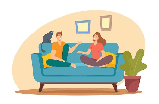 活発な会話をしている自宅でソファに座っている若い男性と女性のキャラクター。チャット、ディスカッション、家族