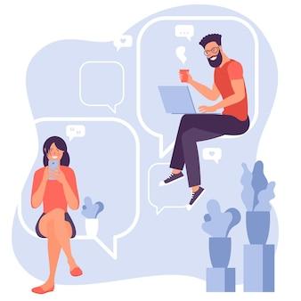 젊은 남자와 여자 채팅 및 게시물에 댓글 달기
