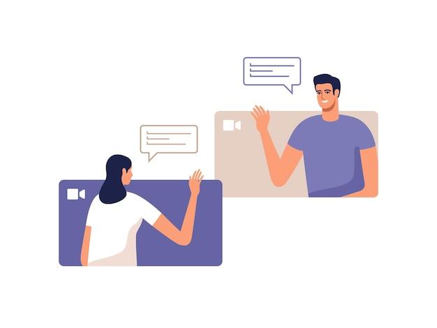 젊은 남자와 여자는 모바일 장치를 사용하여 온라인으로 통신합니다. 화상 통화 회의의 개념, 가정 또는 온라인 회의에서 원격 작업.
