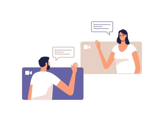 젊은 남자와 여자는 모바일 장치를 사용하여 온라인으로 통신합니다.
