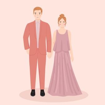 Молодой мужчина и женщина, пара жених и невеста на свадьбе, вечернее платье. модная векторная иллюстрация