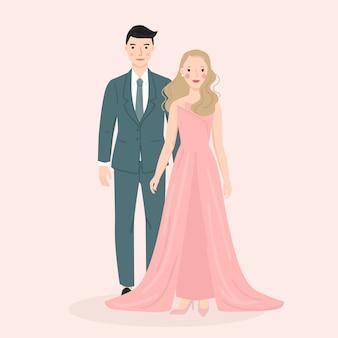 若い男性と女性、結婚式で新郎新婦のカップル、フォーマルドレス。トレンディなベクトルイラスト