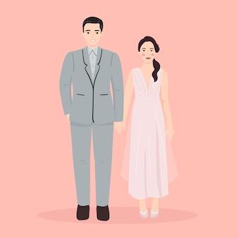 Молодой мужчина и женщина, пара людей на свадьбу, вечернее платье. модная векторная иллюстрация