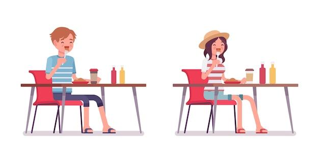 若い男性と女性を食べる