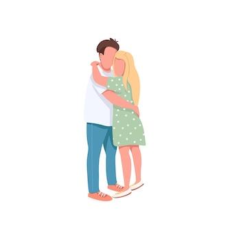 Молодой мужчина и женщина плоские цветные безликие персонажи