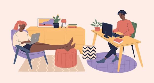 ホームオフィスで働いている、またはラップトップとコンピューターでオンライン教育を受けている若い男性と女性のフリーランサー