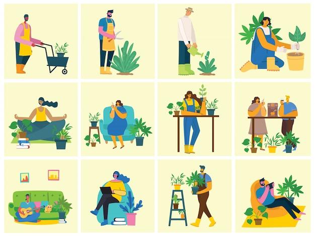 植木鉢を保持している若い男性と女性の庭師。フラットスタイルのイラスト