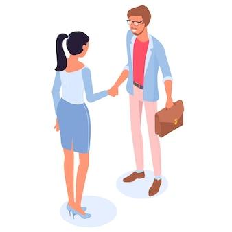 협상 후 젊은 남자와 여자 핸드 쉐이킹 아이소 메트릭 d 평면 디자인 사람들이 웹 사이트 및 응용 프로그램 디자인 및 프리젠 테이션을위한 유행 색상 개념