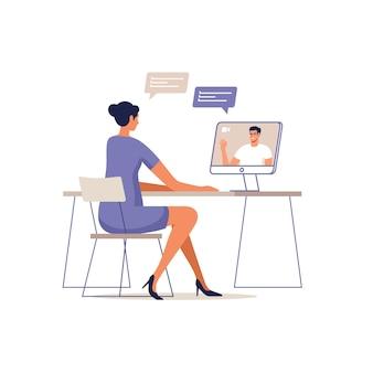 ビデオ通話会議のイラストの若い男と女