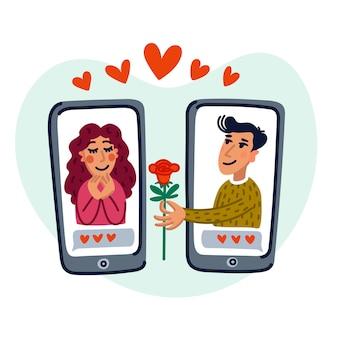 휴대 전화 애플리케이션으로 사랑을 찾는 젊은 남녀