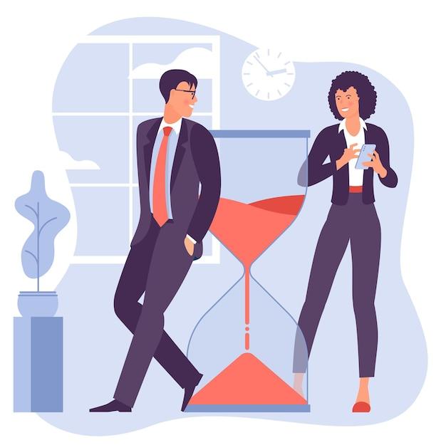 Молодой мужчина и женщина успешно организуют свои задачи и встречи