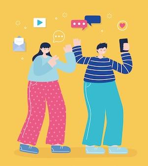 若い男性と女性がスマートフォンで写真を撮る