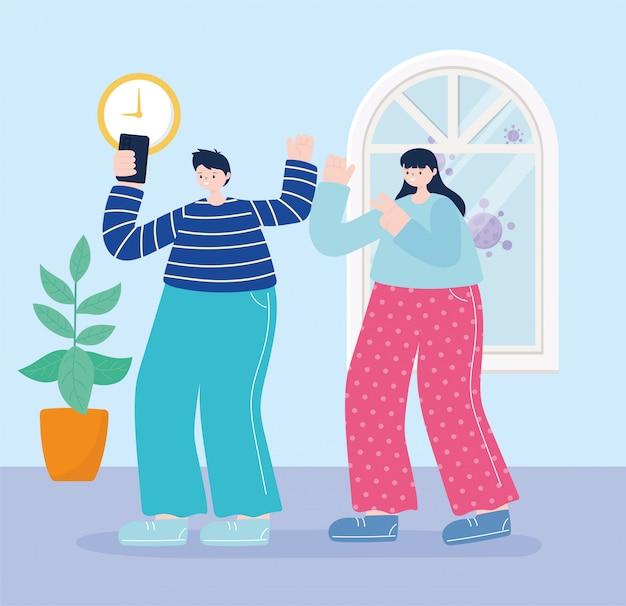 若い男性と女性が自宅でスマートフォンでselfieを取る