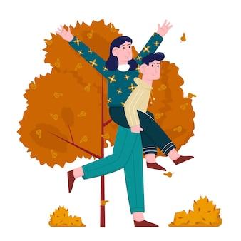 가을 공원에서 함께 젊은 남자와 여자
