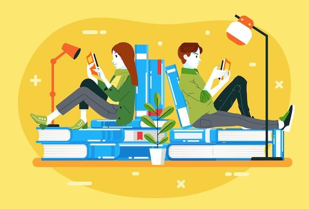 本の山、国際識字デーのイラストを見ながら、本を読んでいる若い男性と女性。ポスター、ウェブ画像などに使用