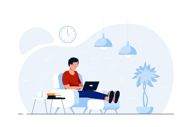 Молодой человек дома сидит в кресле и работает на компьютере. удаленная работа, домашний офис, концепция самоизоляции. плоский стиль иллюстрации, изолированные на белом фоне.
