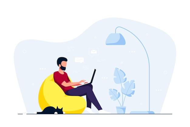 Молодой человек дома сидит в кресле-мешке и работает на компьютере. удаленная работа, домашний офис, концепция самоизоляции. плоский стиль иллюстрации, изолированные на белом фоне.