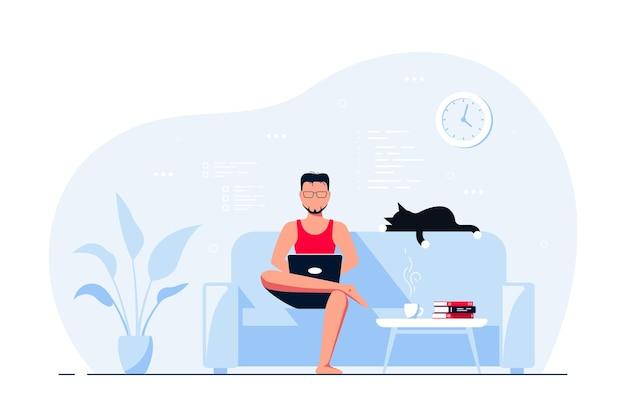 Молодой человек дома сидит на диване и работает на компьютере. удаленная работа, домашний офис, концепция самоизоляции. плоский стиль иллюстрации, изолированные на белом фоне.
