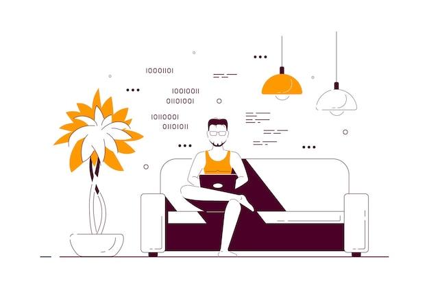 Молодой человек дома сидит на диване и работает на компьютере. удаленная работа, домашний офис, концепция самоизоляции. плоский стиль линии искусства иллюстрации, изолированные на белом фоне.