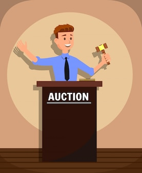 Young man auctioneer with gavel selling goods.