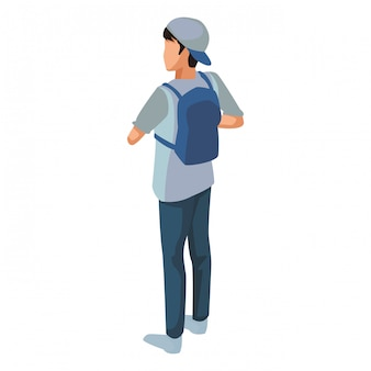 Young man back with backpack isometric