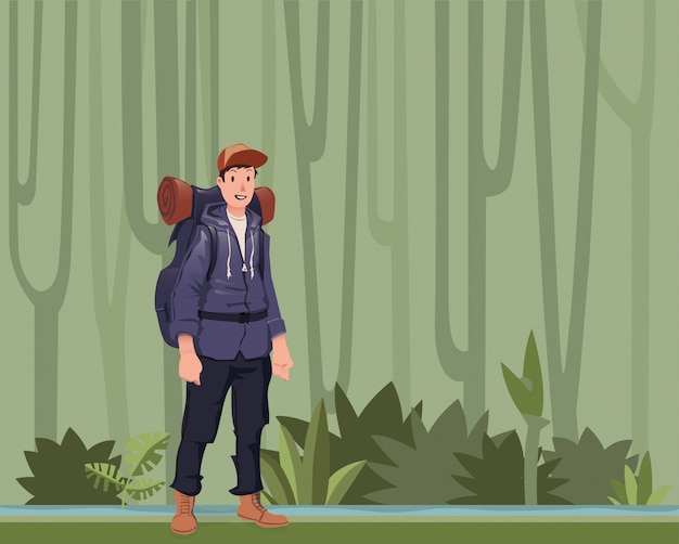A young man, backpacker in the jungle forest. hiker, explorer.  illustration with copy space.