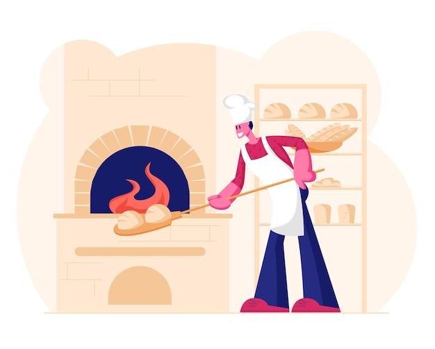 흰색 앞치마와 토크를 입고 젊은 남자 베이커는 레스토랑이나 빵집 주방에서 굽기 오븐에 베이킹을 위해 원시 빵을 넣습니다. 만화 평면 그림