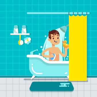 Young man in bathroom home interior with shower, bath vector illustration