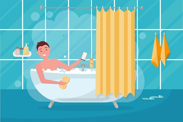 Young man in bathtub bubble foam. bathroom home interior with bath in tile with shower curtain. guy holding washcloth and using smartphone