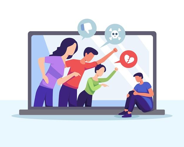 Молодой человек издевается в интернете. киберзапугивание в социальных сетях и концепция злоупотреблений в интернете. векторная иллюстрация в плоском стиле