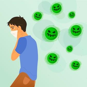 コロナウイルスを怖がっている若い男