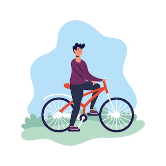 Young man in bicycle activity