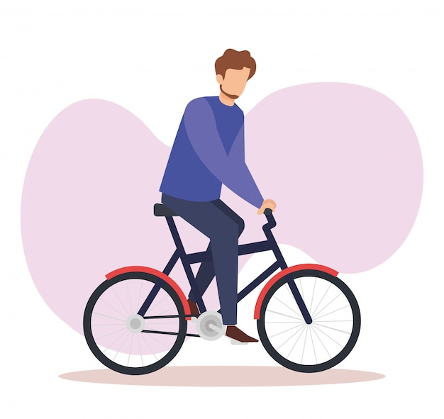 Young man in bicycle avatar character