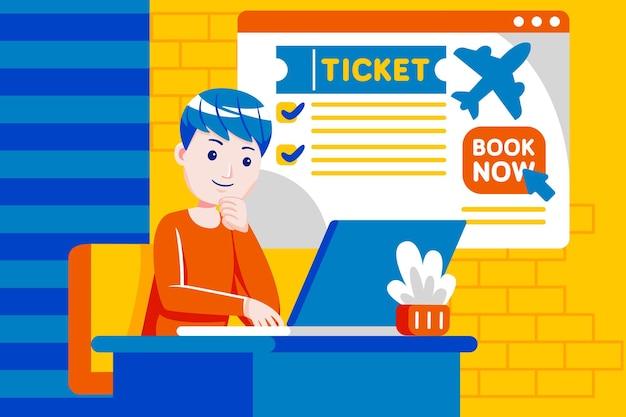 ノートパソコンでオンラインでフライトを予約する若い男。