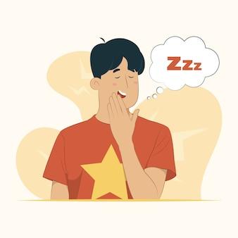 若い男は、落ち着きのない眠気の概念で口を覆うあくびを退屈しました