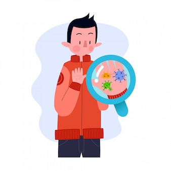 Young man or boy or male or person or character with germs bacteria virus in hands. flat design. illustration concept. isolated.