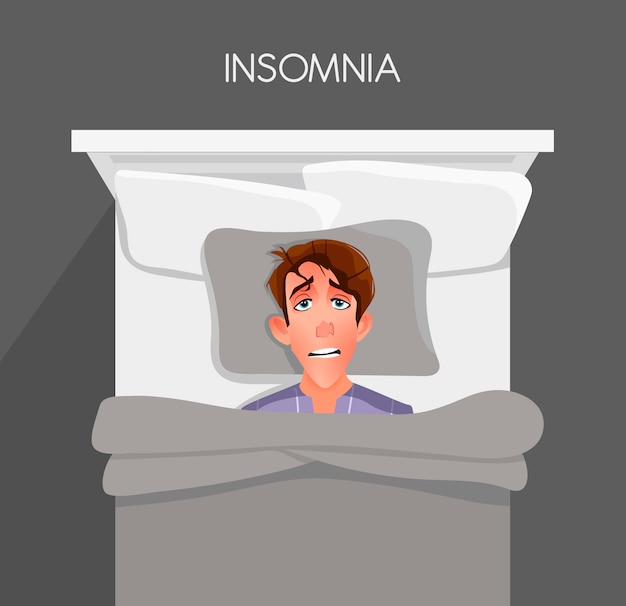 A young man can't fall asleep. insomnia.