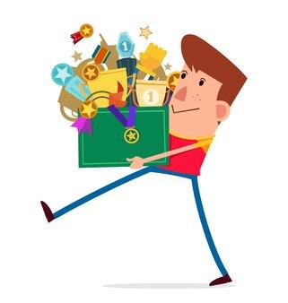 若い男はトロフィーでいっぱいの箱を運ぶ