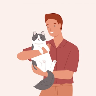 Young man carrying a cute cat. portrait of happy pet owner. vector illustration in a flat style