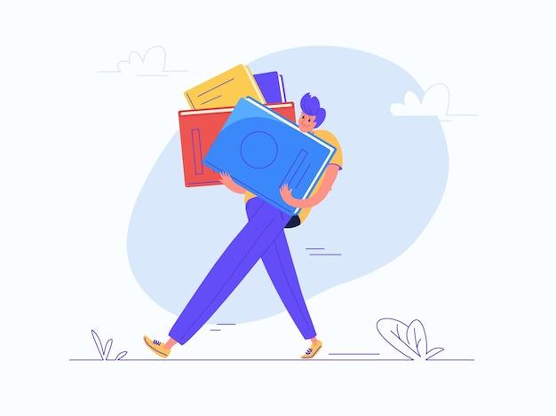 学校や大学教育のための重い本を運ぶ若い男。生涯の巨大な知識の負担のフラットモダンコンセプトベクトルイラスト。白い背景の上のカジュアルなデザイン