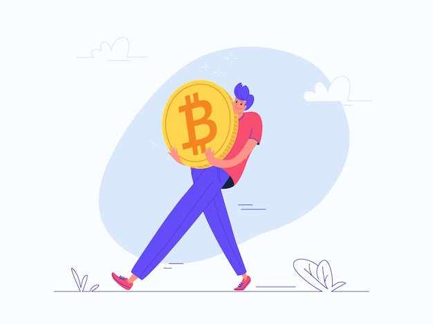 Young man carrying heavy golden symbol of bitcoin. flat modern concept vector illustration of burden of online mining, cryptocurrency and blockchain. casual design on white background
