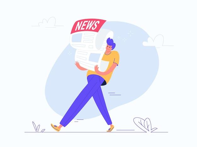 重い新聞を運ぶ若い男。毎月の通知、毎日のニュースや新聞を購読している人々のフラットモダンコンセプトベクトルイラスト。白い背景の上のカジュアルなデザイン