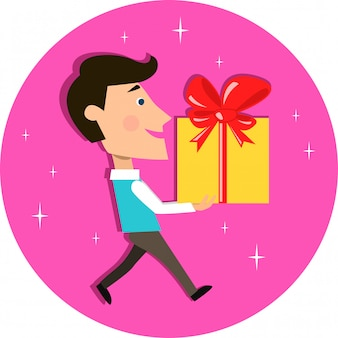 Young man carrying present gift box