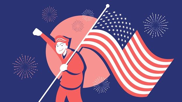 7月4日のお祝いイラストでアメリカの国旗を運ぶ若い男。レトロなカラースタイルと赤青白の花火