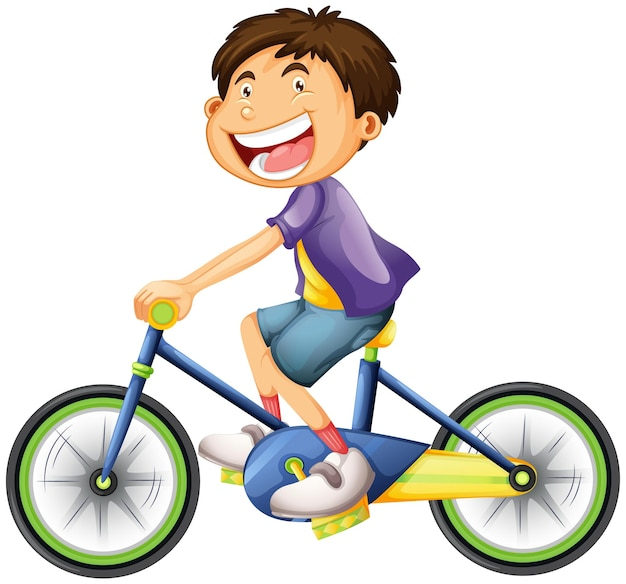 A young man cartoon character riding a bicycle isolated