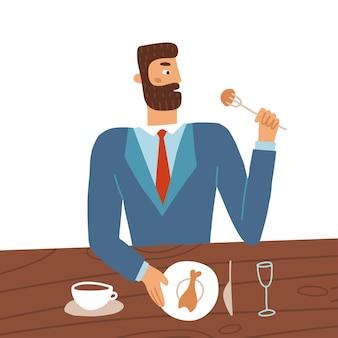 スーツを着ている若い男の漫画のキャラクターは、カフェのテーブルに座って食べるフラットベクトルイラスト分離...