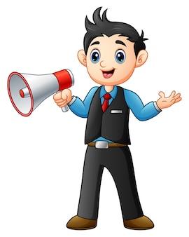 Young man cartoon holding a megaphone