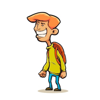 Young man in cartoon style